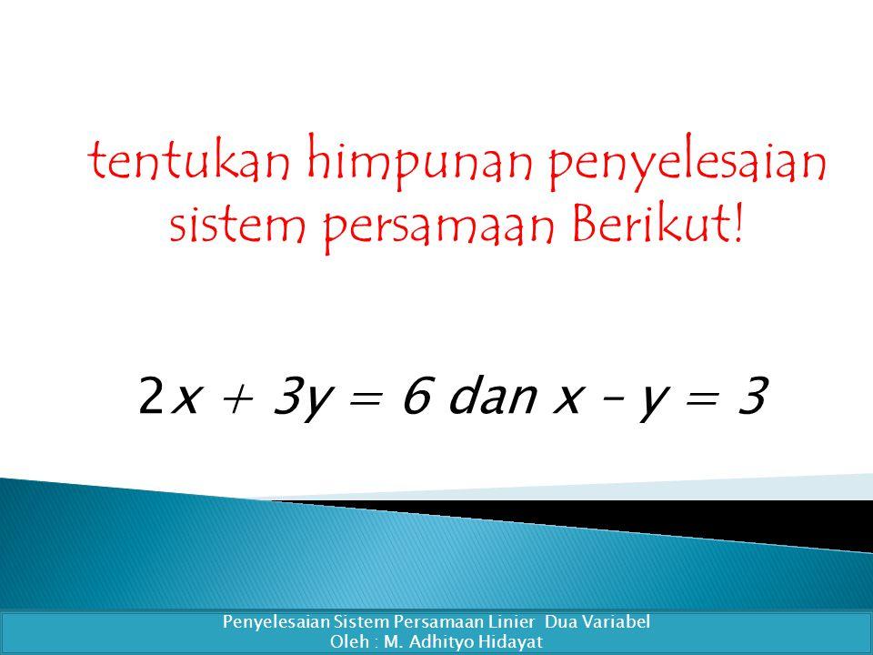 tentukan himpunan penyelesaian sistem persamaan Berikut.
