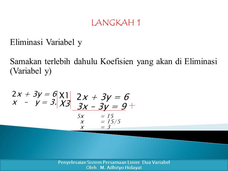 LANGKAH 1 Eliminasi Variabel y Samakan terlebih dahulu Koefisien yang akan di Eliminasi (Variabel y) Penyelesaian Sistem Persamaan Linier Dua Variabel Oleh : M.