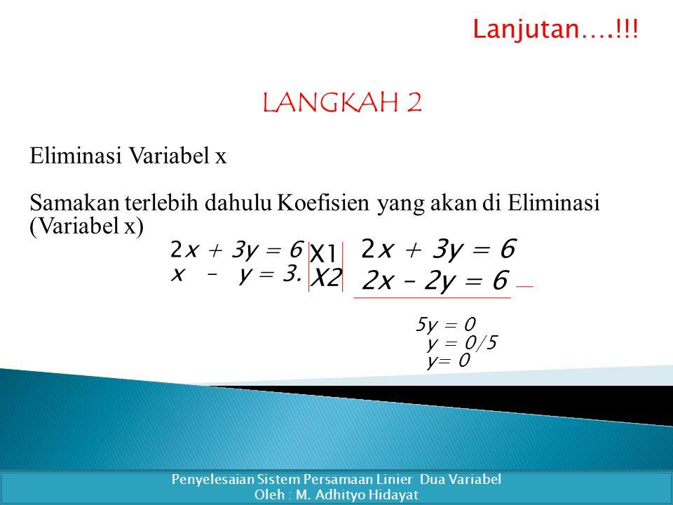 LANGKAH 2 Eliminasi Variabel x Samakan terlebih dahulu Koefisien yang akan di Eliminasi (Variabel x) Penyelesaian Sistem Persamaan Linier Dua Variabel Oleh : M.