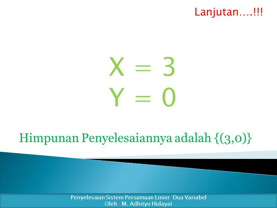X = 3 Y = 0 Penyelesaian Sistem Persamaan Linier Dua Variabel Oleh : M.