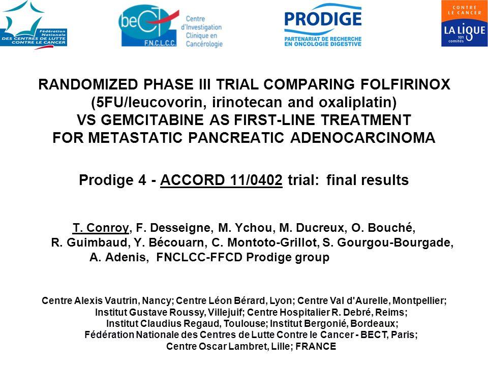 RANDOMIZED PHASE III TRIAL COMPARING FOLFIRINOX (5FU/leucovorin, irinotecan and oxaliplatin) VS GEMCITABINE AS FIRST-LINE TREATMENT FOR METASTATIC PAN