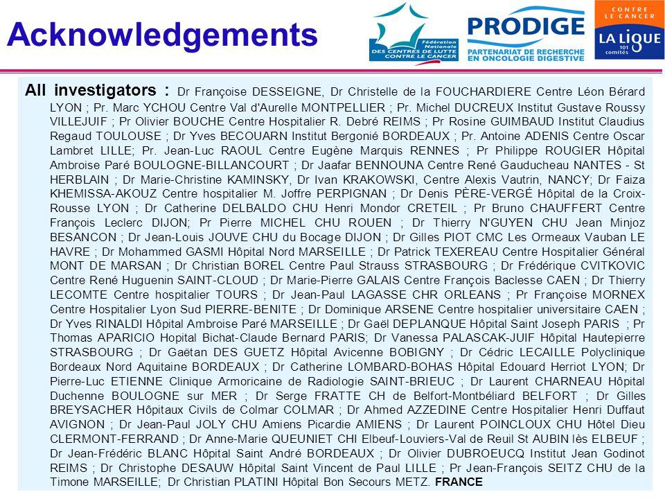 Acknowledgements All investigators : Dr Françoise DESSEIGNE, Dr Christelle de la FOUCHARDIERE Centre Léon Bérard LYON ; Pr. Marc YCHOU Centre Val d'Au