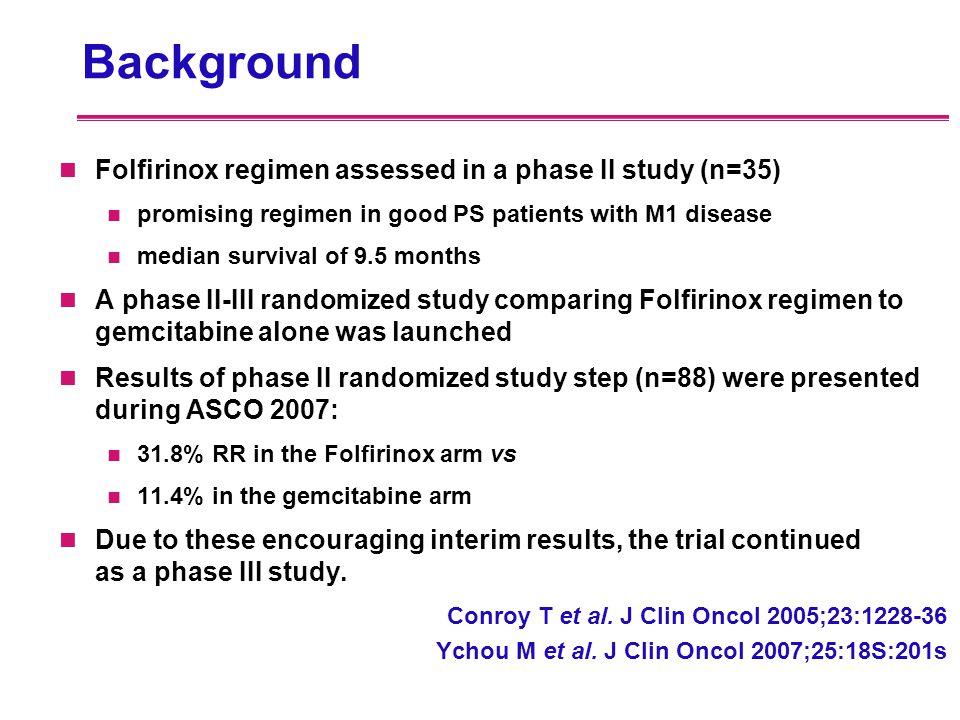 Background Folfirinox regimen assessed in a phase II study (n=35) promising regimen in good PS patients with M1 disease median survival of 9.5 months
