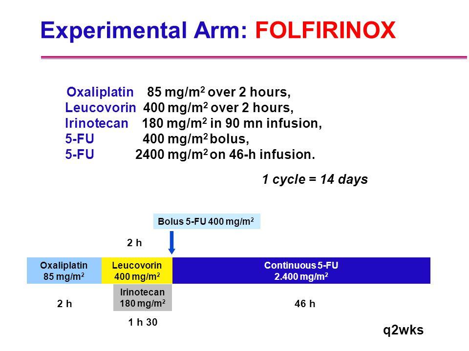 Experimental Arm: FOLFIRINOX Oxaliplatin 85 mg/m 2 over 2 hours, Leucovorin 400 mg/m 2 over 2 hours, Irinotecan 180 mg/m 2 in 90 mn infusion, 5-FU 400