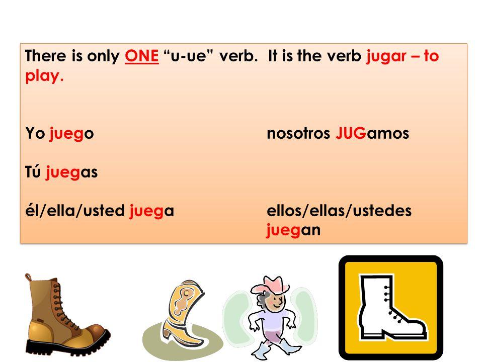 """There is only ONE """"u-ue"""" verb. It is the verb jugar – to play. Yo juego nosotros JUGamos Tú juegas él/ella/usted juegaellos/ellas/ustedes juegan There"""