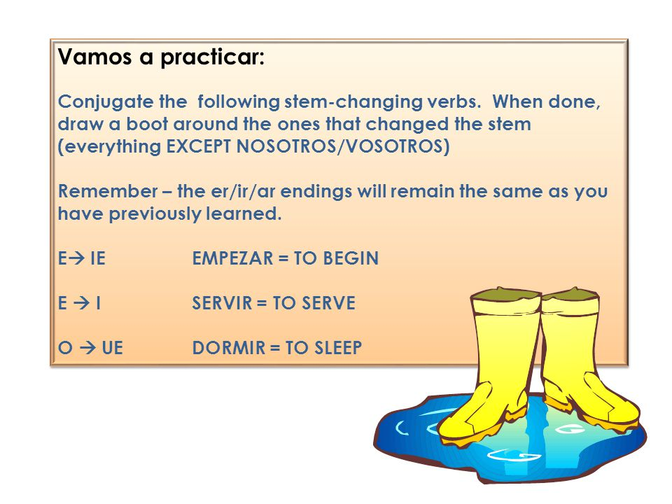 Vamos a practicar: Conjugate the following stem-changing verbs. When done, draw a boot around the ones that changed the stem (everything EXCEPT NOSOTR