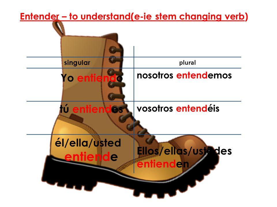 singular plural Yo entiendo nosotros entendemos tú entiendes vosotros entendéis él/ella/usted entiende Ellos/ellas/ustedes entienden Entender – to und