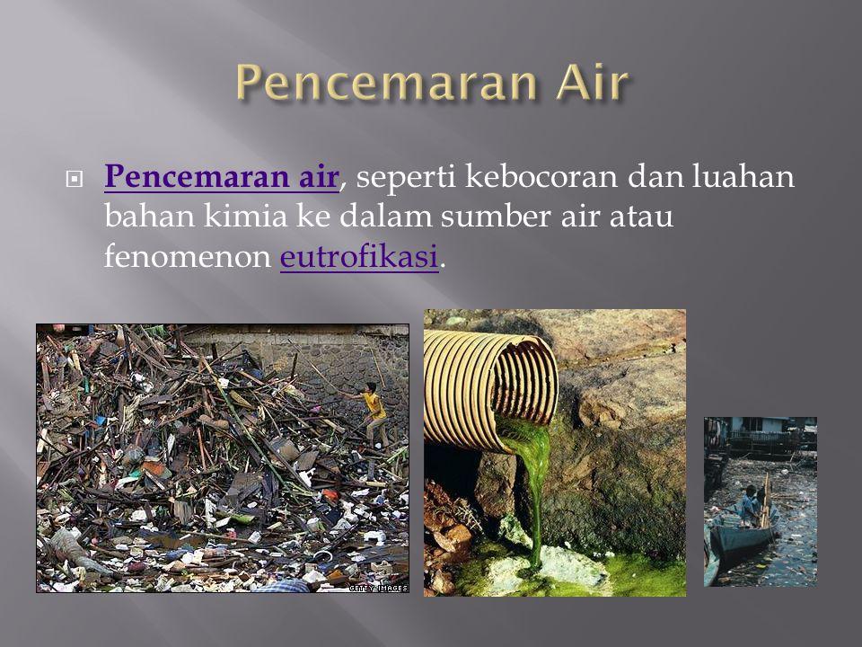  Pencemaran air, seperti kebocoran dan luahan bahan kimia ke dalam sumber air atau fenomenon eutrofikasi. Pencemaran aireutrofikasi
