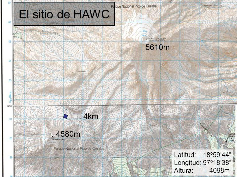 "El sitio de HAWC Latitud: 18º59'44"" Longitud: 97º18'38"" Altura: 4098m. 5610m. 4580m. 4km"