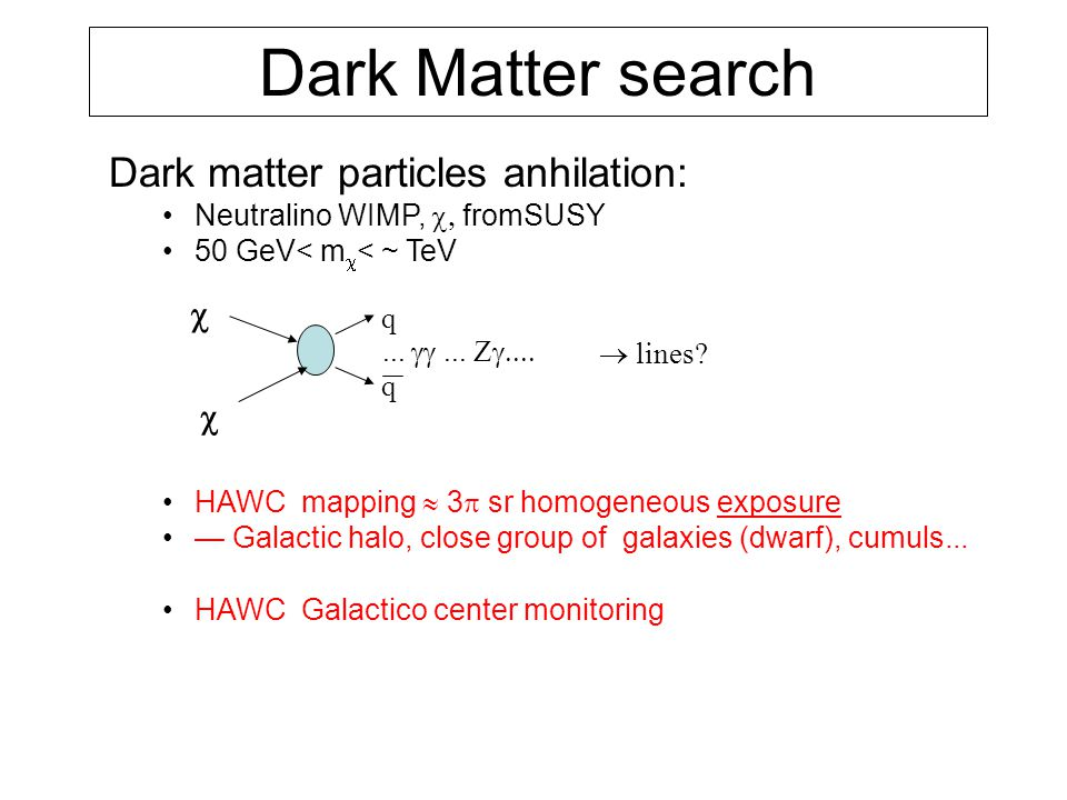 Dark matter particles anhilation: Neutralino WIMP,  fromSUSY 50 GeV< m  < ~ TeV HAWC mapping  3  sr homogeneous exposure — Galactic halo, close group of galaxies (dwarf), cumuls...