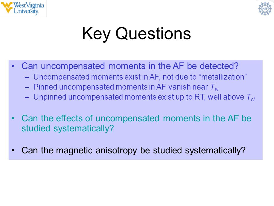 "Key Questions Can uncompensated moments in the AF be detected? –Uncompensated moments exist in AF, not due to ""metallization"" –Pinned uncompensated mo"
