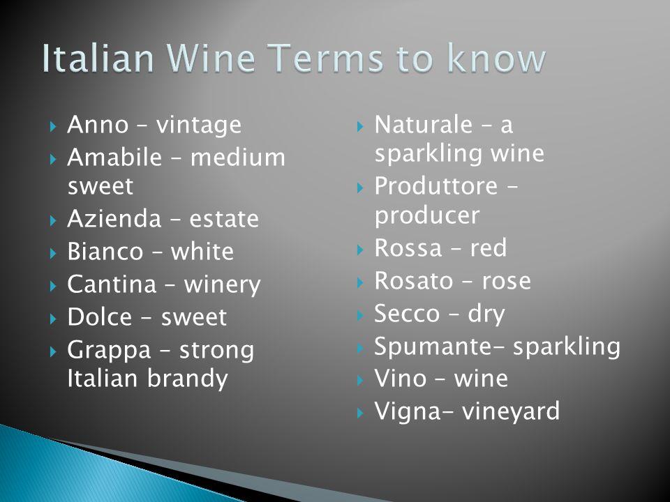  Anno – vintage  Amabile – medium sweet  Azienda – estate  Bianco – white  Cantina – winery  Dolce – sweet  Grappa – strong Italian brandy  Na