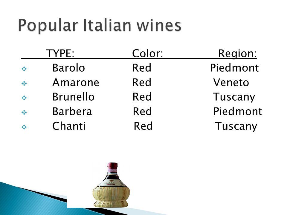 TYPE:Color:Region:  BaroloRed Piedmont  AmaroneRed Veneto  Brunello Red Tuscany  Barbera Red Piedmont  Chanti Red Tuscany