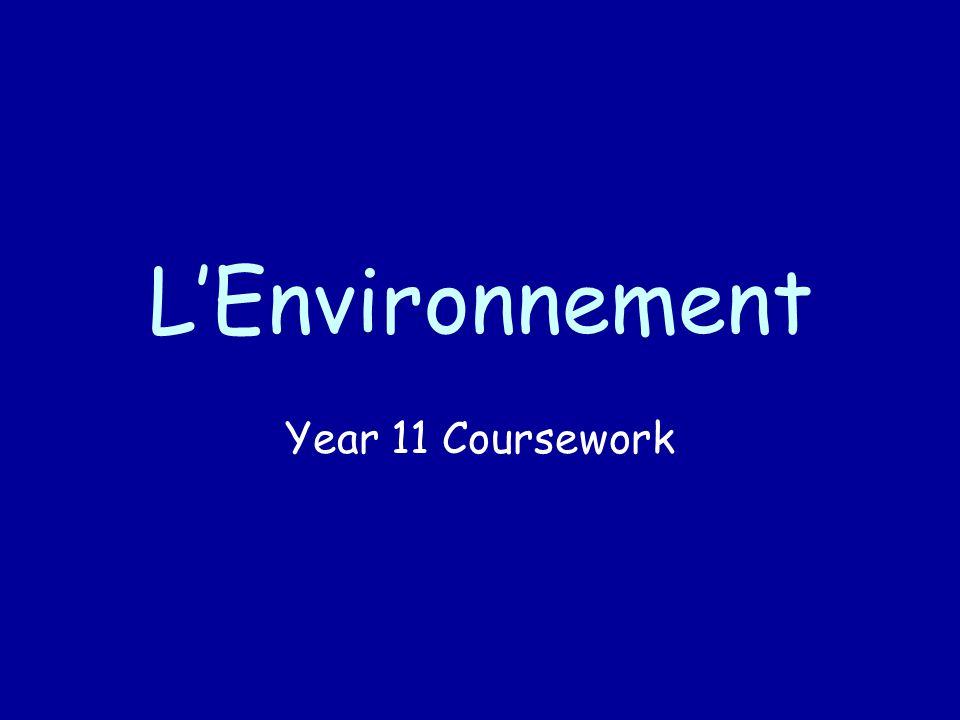 L'Environnement Year 11 Coursework
