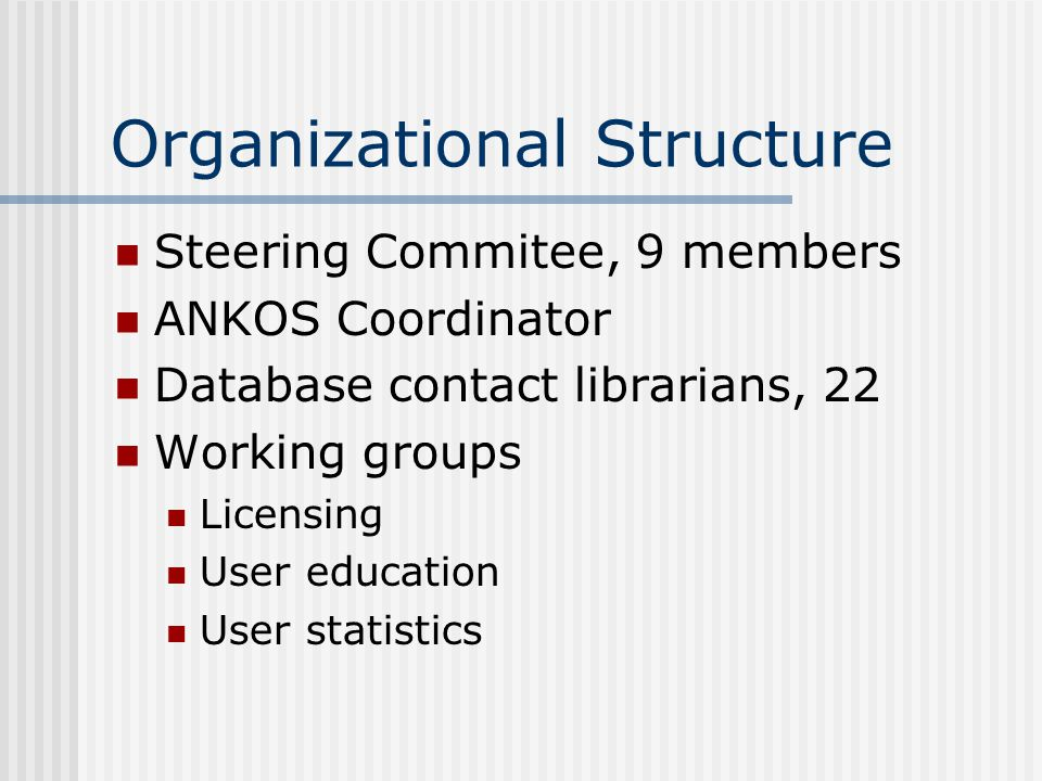 Organizational Structure Steering Commitee, 9 members ANKOS Coordinator Database contact librarians, 22 Working groups Licensing User education User statistics