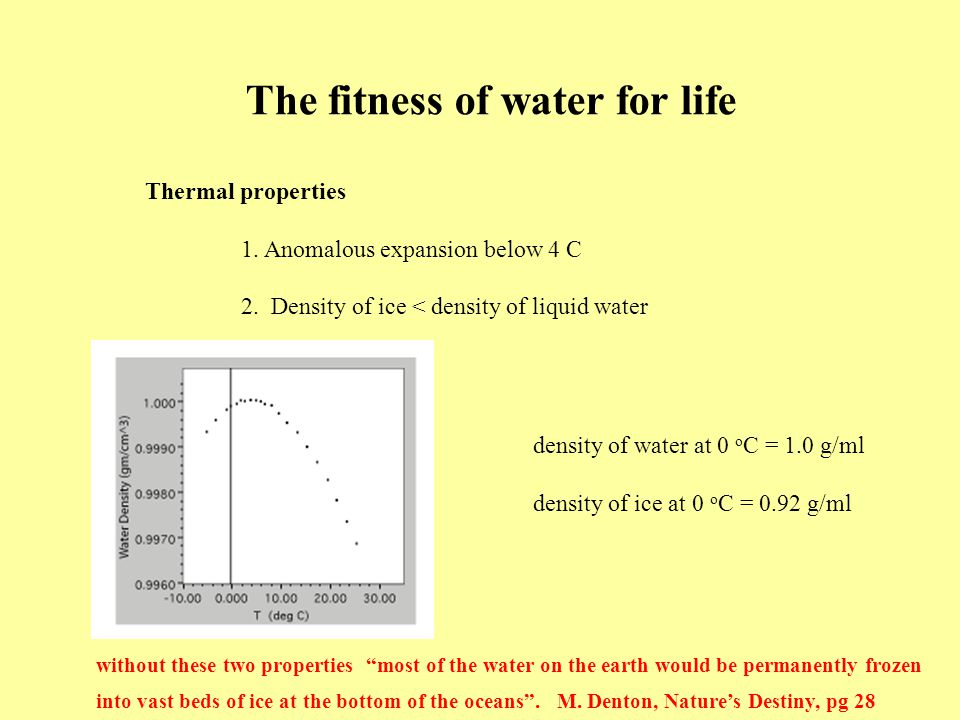 The fitness of water for life Thermal properties 1.