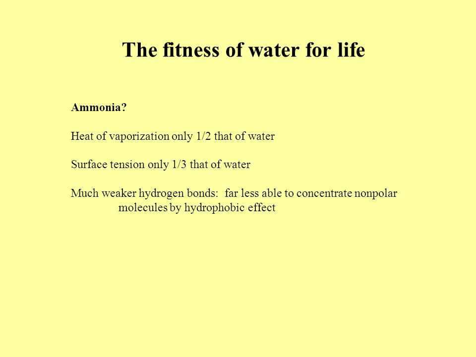 The fitness of water for life Ammonia.