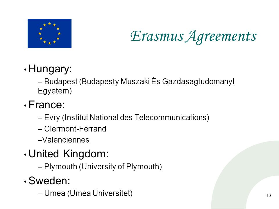 13 Erasmus Agreements Hungary: – Budapest (Budapesty Muszaki És Gazdasagtudomanyl Egyetem) France: – Evry (Institut National des Telecommunications) – Clermont-Ferrand –Valenciennes United Kingdom: – Plymouth (University of Plymouth) Sweden: – Umea (Umea Universitet)