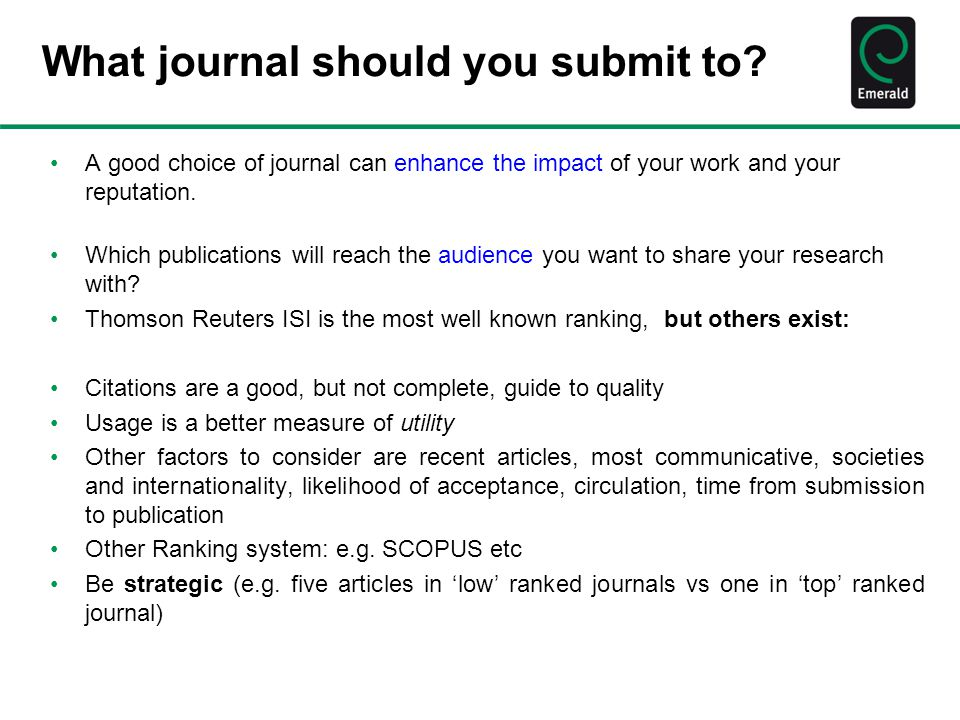 What journal should you submit to.