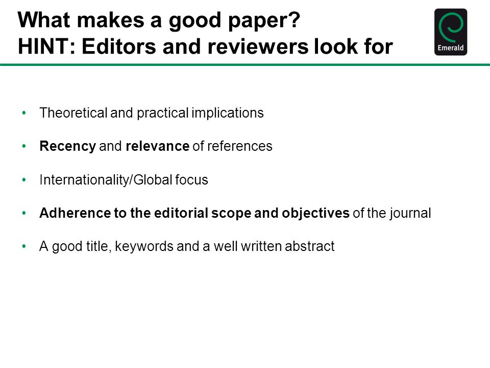 What makes a good paper.