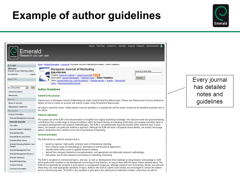 Example of author guidelines Every journal has detailed notes and guidelines