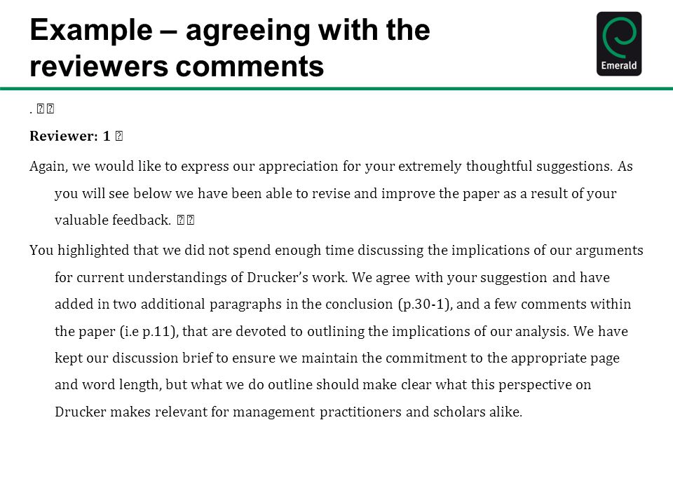Example – agreeing with the reviewers comments.