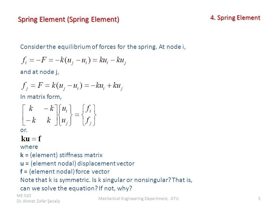Spring System ME 520 Dr.Ahmet Zafer Şenalp 6Mechanical Engineering Department, GTU 4.