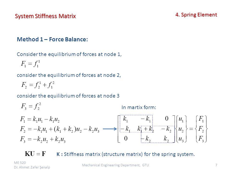 System Stiffness Matrix ME 520 Dr.Ahmet Zafer Şenalp 8Mechanical Engineering Department, GTU 4.
