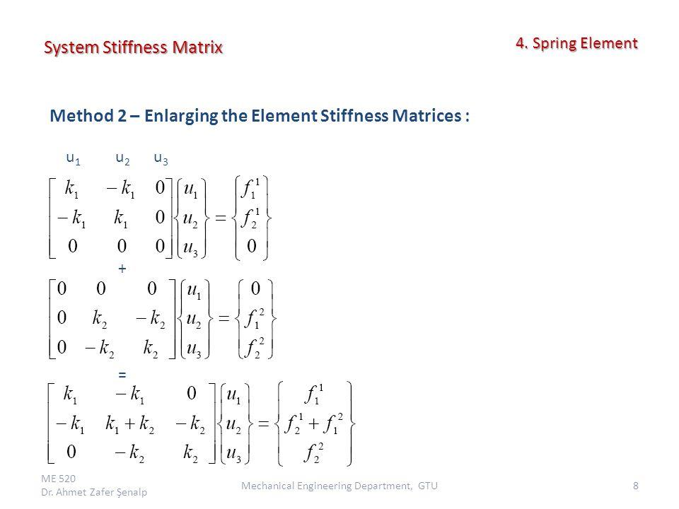 System Stiffness Matrix ME 520 Dr.Ahmet Zafer Şenalp 9Mechanical Engineering Department, GTU 4.