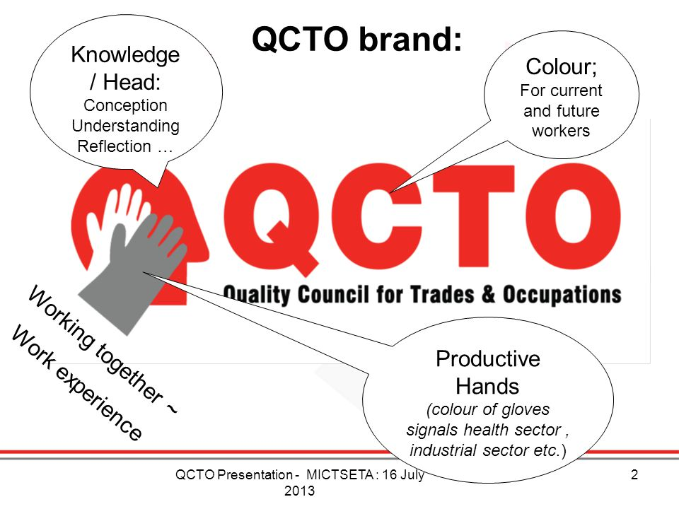 Productive Hands (colour of gloves signals health sector, industrial sector etc.) QCTO brand: Colour; For current and future workers Working together
