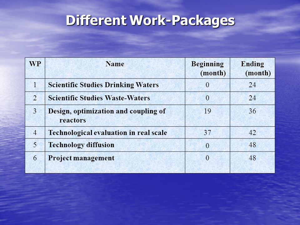 Different Work-Packages WPName Beginning (month) Ending (month) 1Scientific Studies Drinking Waters024 2Scientific Studies Waste-Waters024 3Design, optimization and coupling of reactors 1936 4Technological evaluation in real scale3742 5Technology diffusion 0 48 6Project management048