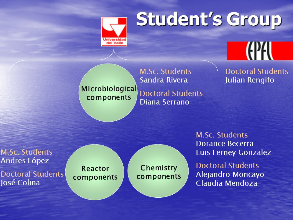 Student's Group Microbiological components Reactor components Chemistry components M.Sc.