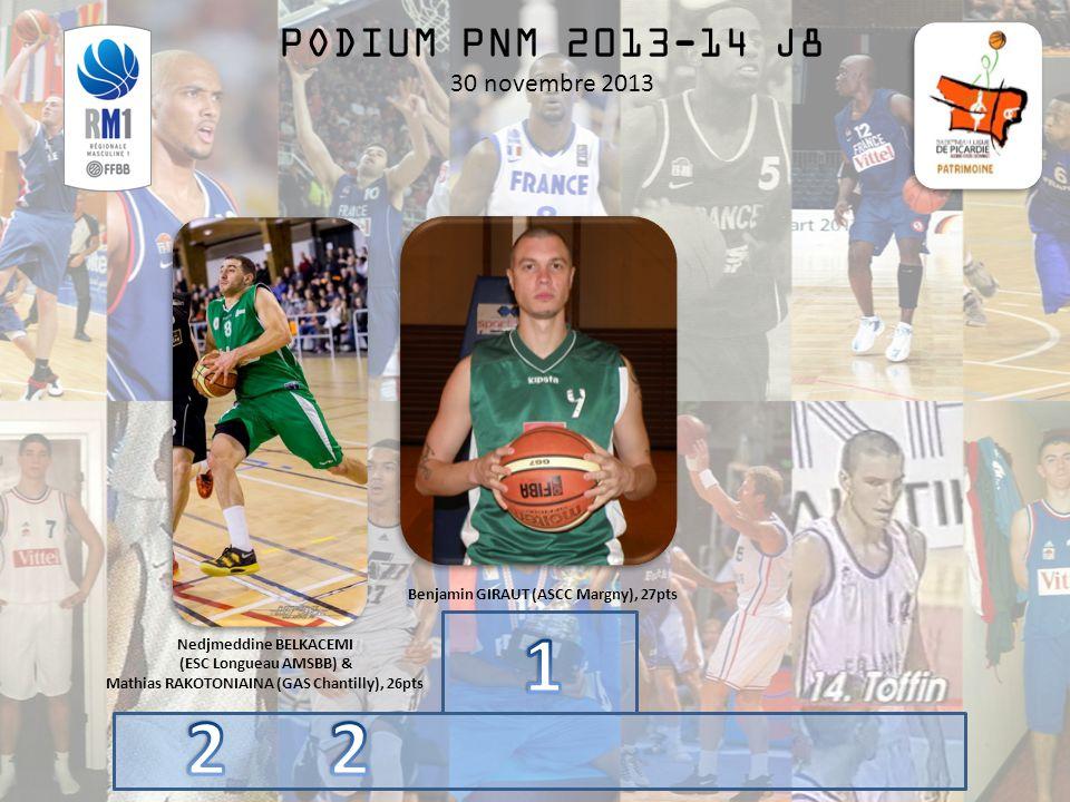 PODIUM PNM 2013-14 J8 30 novembre 2013 Benjamin GIRAUT (ASCC Margny), 27pts Nedjmeddine BELKACEMI (ESC Longueau AMSBB) & Mathias RAKOTONIAINA (GAS Chantilly), 26pts