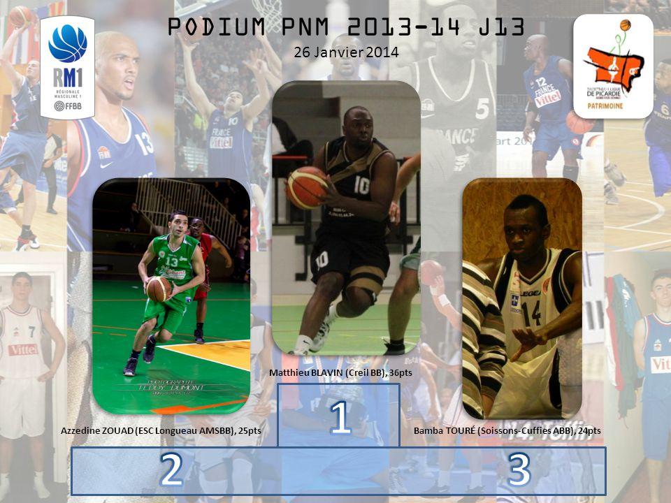 PODIUM PNM 2013-14 J13 26 Janvier 2014 Matthieu BLAVIN (Creil BB), 36pts Azzedine ZOUAD (ESC Longueau AMSBB), 25ptsBamba TOURÉ (Soissons-Cuffies ABB), 24pts