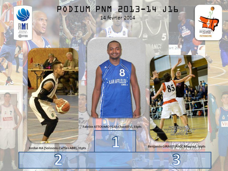 PODIUM PNM 2013-14 J16 14 février 2014 Fabrice ATTOUMO (GAS Chantilly), 33pts Benjamin GIRAUT (ASCC Margny), 30pts Jordan KA (Soissons-Cuffies ABB), 31pts