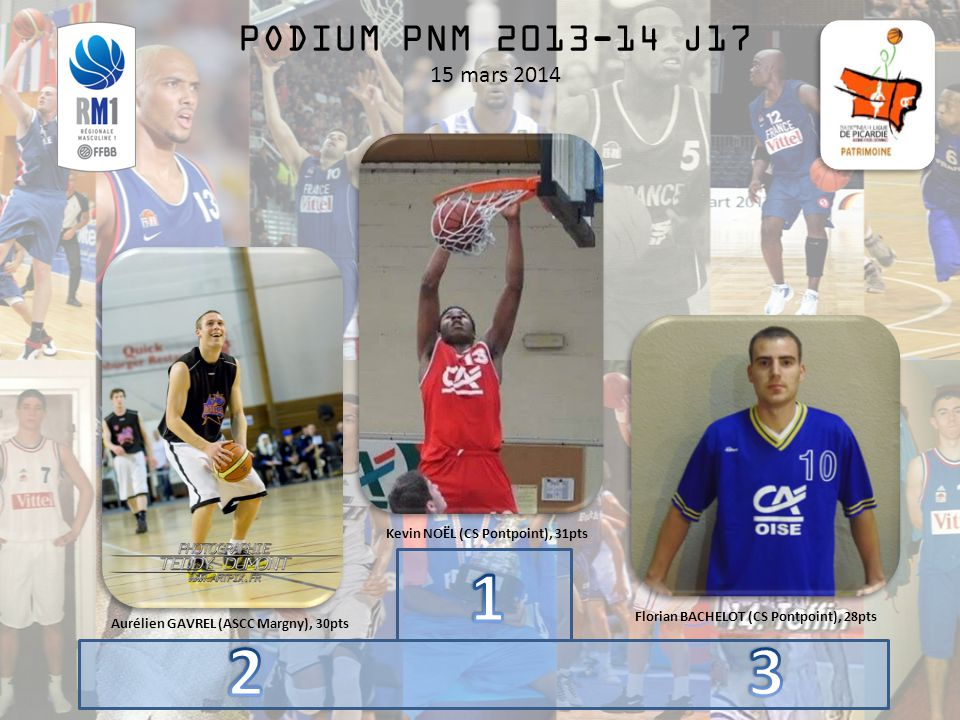 PODIUM PNM 2013-14 J17 15 mars 2014 Kevin NOËL (CS Pontpoint), 31pts Aurélien GAVREL (ASCC Margny), 30pts Florian BACHELOT (CS Pontpoint), 28pts