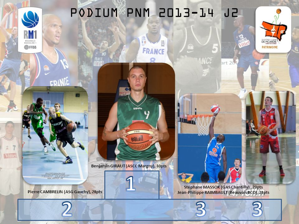 PODIUM PNM 2013-14 J2 Benjamin GIRAUT (ASCC Margny), 30pts Pierre CAMBRELIN (ASG Gauchy), 28pts Stéphane MASSOK (GAS Chantilly), 23pts Jean-Philippe RAIMBAULT (Beauvais BCO), 23pts