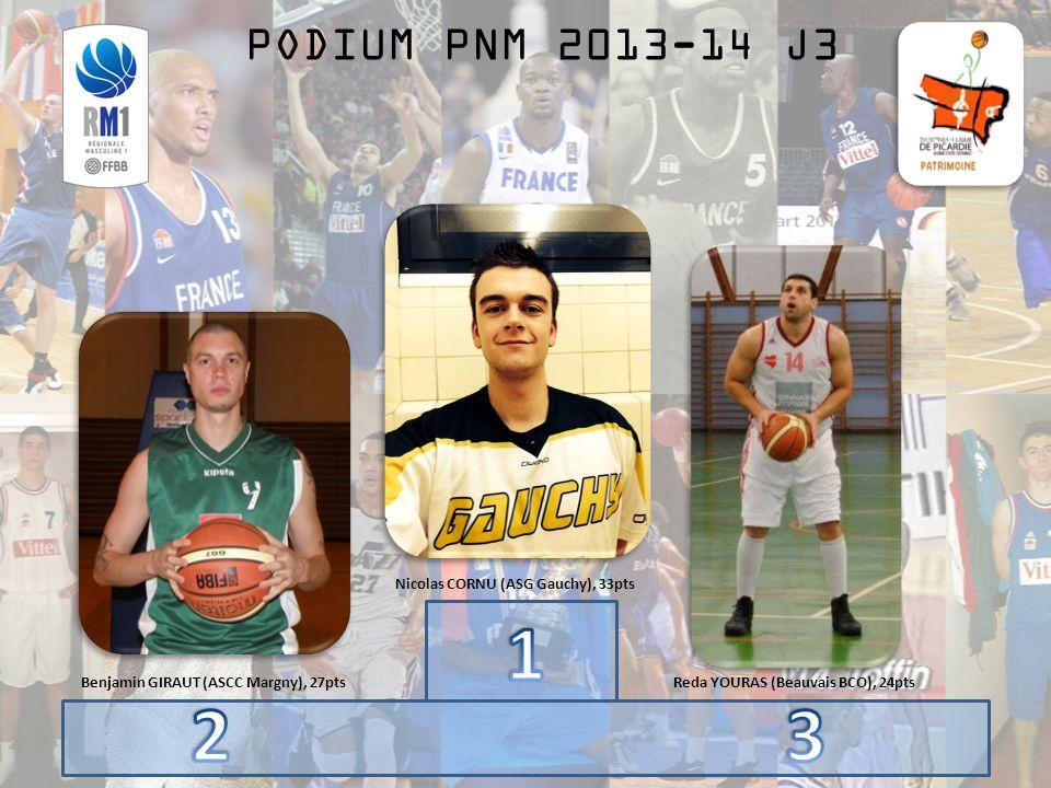 PODIUM PNM 2013-14 J3 Benjamin GIRAUT (ASCC Margny), 27pts Nicolas CORNU (ASG Gauchy), 33pts Reda YOURAS (Beauvais BCO), 24pts
