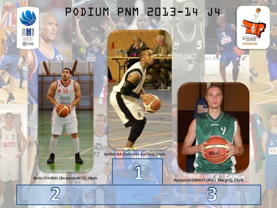PODIUM PNM 2013-14 J4 Benjamin GIRAUT (ASCC Margny), 25pts Jordan KA (Soissons-Cuffies), 30pts Reda YOURAS (Beauvais BCO), 28pts