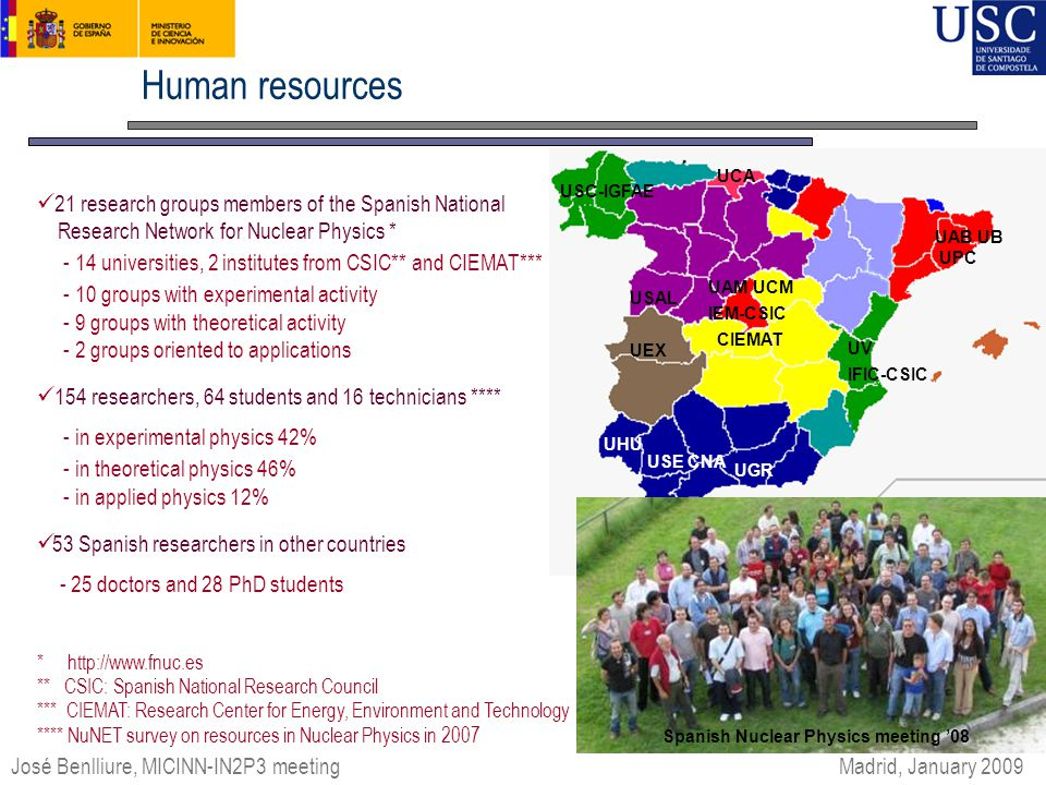 IFIC-CSIC UAB UB UPC USE CNA UHU UGR USC-IGFAE USAL UAM UCM CIEMAT IEM-CSIC UV UEX UCA Human resources José Benlliure, MICINN-IN2P3 meeting 21 research groups members of the Spanish National Research Network for Nuclear Physics * - 14 universities, 2 institutes from CSIC** and CIEMAT*** - 10 groups with experimental activity - 9 groups with theoretical activity - 2 groups oriented to applications 154 researchers, 64 students and 16 technicians **** - in experimental physics 42% - in theoretical physics 46% - in applied physics 12% 53 Spanish researchers in other countries - 25 doctors and 28 PhD students * http://www.fnuc.es ** CSIC: Spanish National Research Council *** CIEMAT: Research Center for Energy, Environment and Technology **** NuNET survey on resources in Nuclear Physics in 2007 Encuentros de Física Nuclear '06 Madrid, January 2009 Spanish Nuclear Physics meeting '08