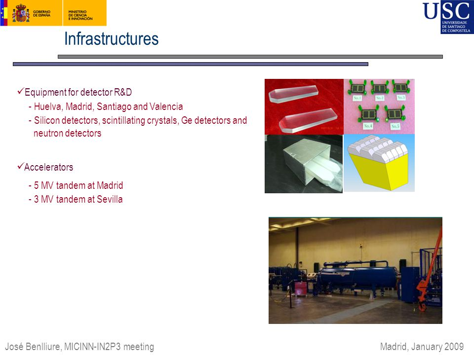 Infrastructures Equipment for detector R&D - Huelva, Madrid, Santiago and Valencia - Silicon detectors, scintillating crystals, Ge detectors and neutron detectors Accelerators - 5 MV tandem at Madrid - 3 MV tandem at Sevilla Encuentros de Física Nuclear '06 José Benlliure, MICINN-IN2P3 meeting Madrid, January 2009