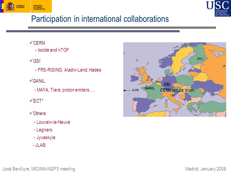 Participation in international collaborations CERN - Isolde and nTOF GSI - FRS-RISING, Aladin-Land, Hades GANIL - MAYA, Tiara, proton emiters, … ECT*