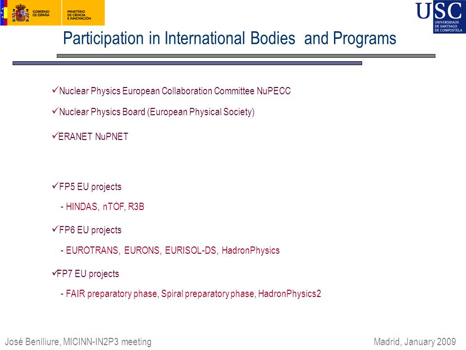 Participation in International Bodies and Programs José Benlliure, MICINN-IN2P3 meeting Madrid, January 2009 Nuclear Physics European Collaboration Committee NuPECC Nuclear Physics Board (European Physical Society) ERANET NuPNET FP5 EU projects - HINDAS, nTOF, R3B FP6 EU projects - EUROTRANS, EURONS, EURISOL-DS, HadronPhysics FP7 EU projects - FAIR preparatory phase, Spiral preparatory phase, HadronPhysics2