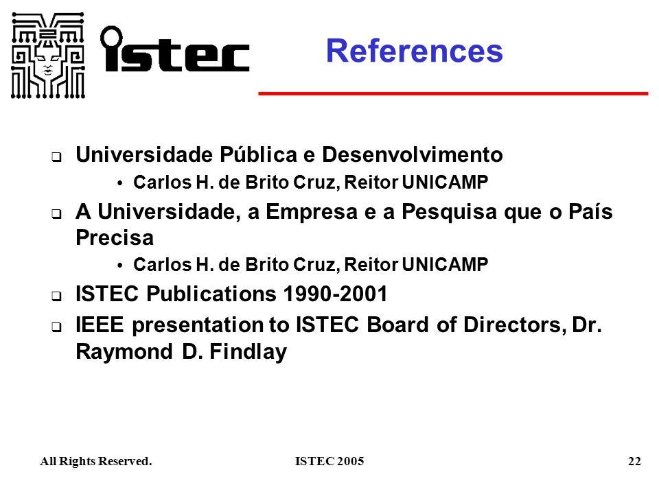 22ISTEC 2005All Rights Reserved. References  Universidade Pública e Desenvolvimento Carlos H.