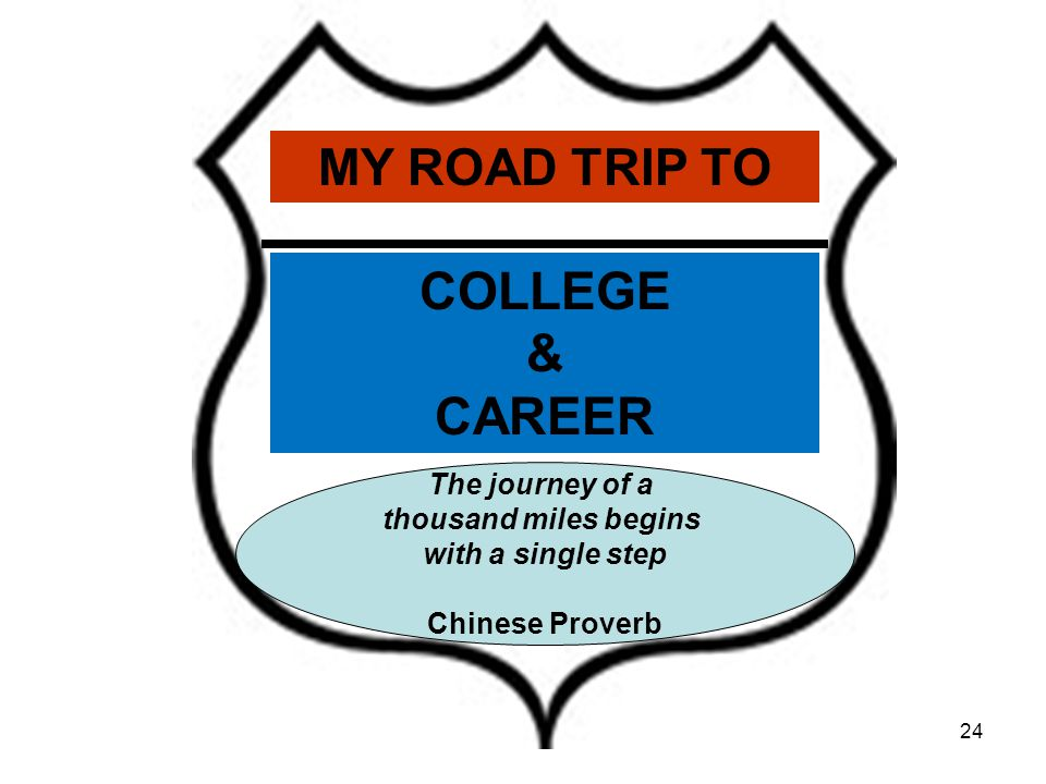 24 The journey of a thousand miles begins with a single step Chinese Proverb MY ROAD TRIP TO COLLEGE & CAREER