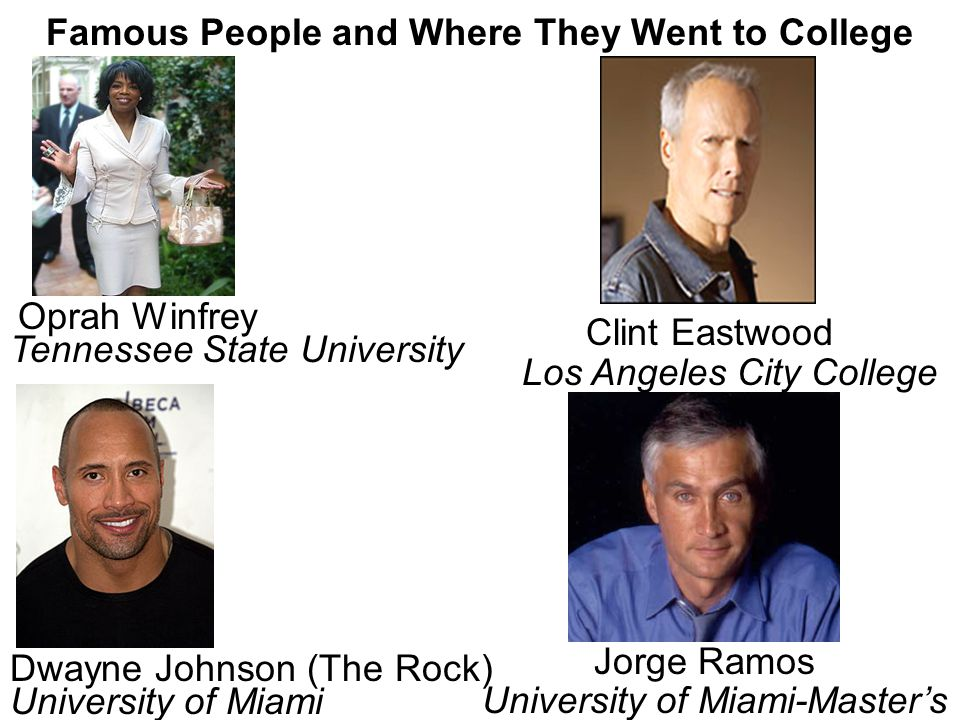 Famous People and Where They Went to College Gwendolyn Brooks Ben Nighthorse Campbell San Jose State University Wilson Junior College Sarah Palin University of Idaho Eileen Collins Corning Community College