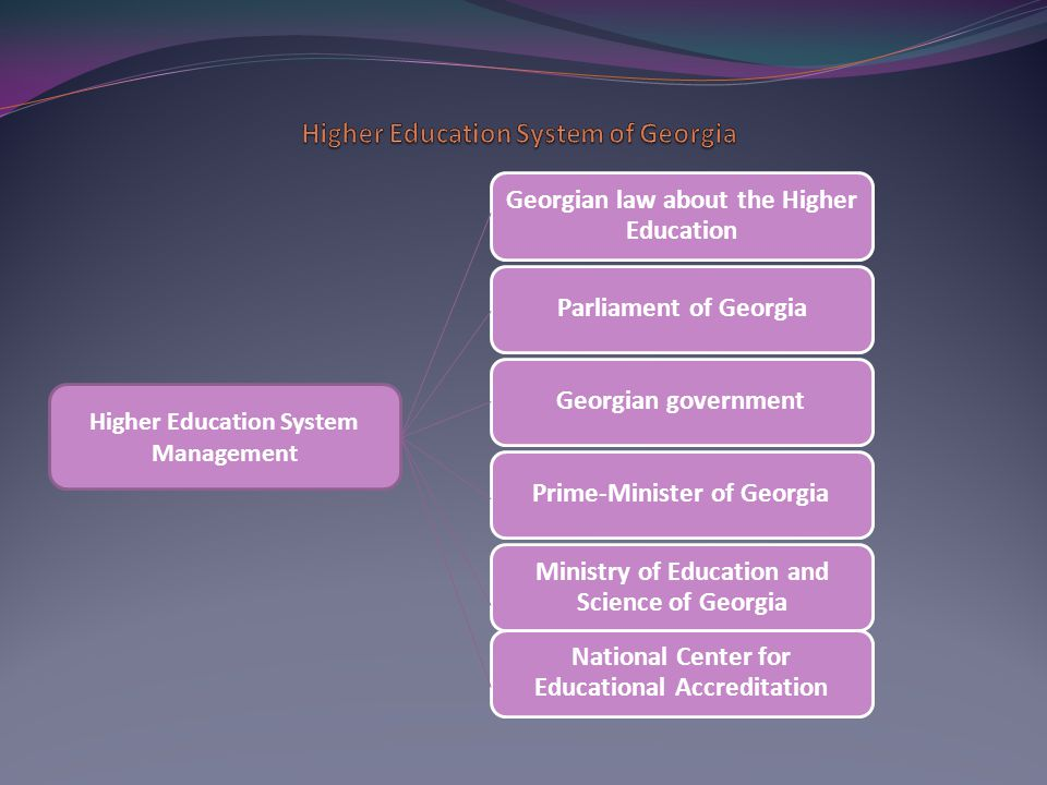 Georgian law about the Higher Education Parliament of GeorgiaGeorgian governmentPrime-Minister of Georgia Ministry of Education and Science of Georgia National Center for Educational Accreditation Higher Education System Management