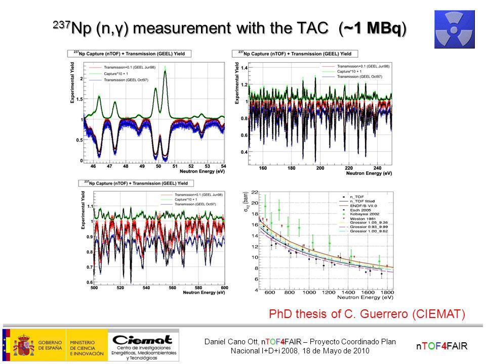 nTOF4FAIR nTOF4FAIR Daniel Cano Ott, nTOF4FAIR – Proyecto Coordinado Plan Nacional I+D+i 2008, 18 de Mayo de 2010 The n_TOF Total Absorption Calorimeter (TAC) for (n,  ) measurements 40 BaF 2 crystals covering 95% of 4 .