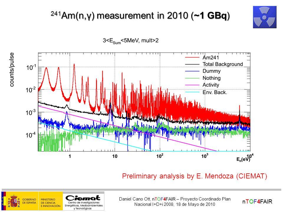 nTOF4FAIR nTOF4FAIR Daniel Cano Ott, nTOF4FAIR – Proyecto Coordinado Plan Nacional I+D+i 2008, 18 de Mayo de 2010 243 Am(n,γ) measurement (~100 MBq) E.