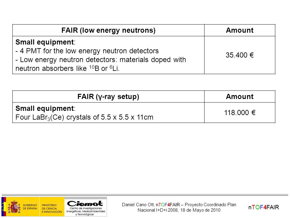 nTOF4FAIR nTOF4FAIR Daniel Cano Ott, nTOF4FAIR – Proyecto Coordinado Plan Nacional I+D+i 2008, 18 de Mayo de 2010 FAIR (high energy neutrons)Amount Small equipment: CAEN HV board 12 channels 2 NIM Crates 2 PCs 2 MESYTEC amplifiers Stabilised LED + fiber optics + pulser Electronic modules 10x Hamamatsu tubes R4144 + VD 10x BC501A neutron detectors for the demonstrator (to be built by Scientifica International in Spain or by St.